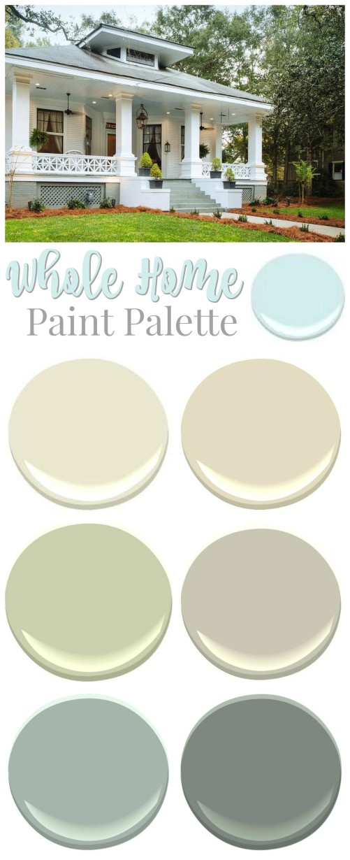 Southern Romance Idea House - a 1906 fixer upper home makeover - Paint palette color source