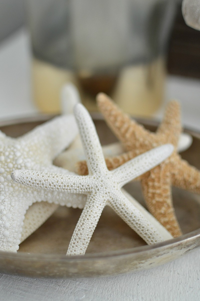 Spring at the cottage - foxhollowcottage.com - Living room; starfish in a silver dish