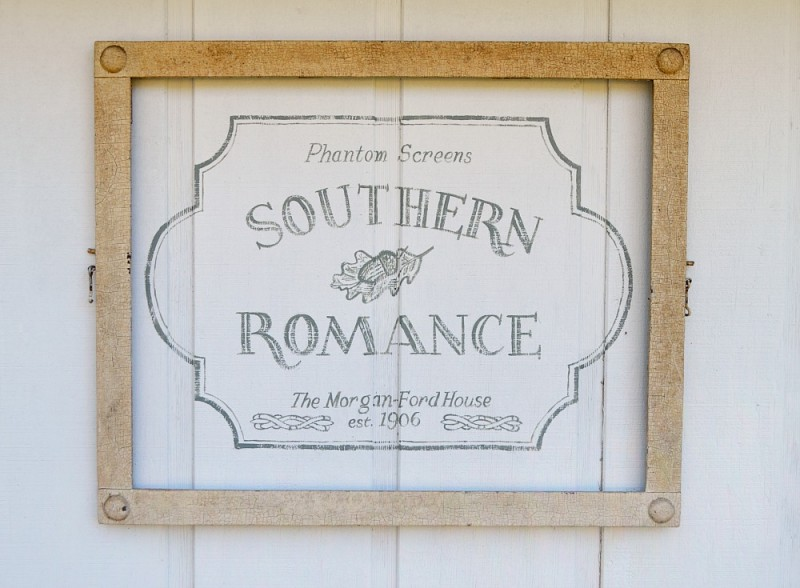 Stencield Wall Decor - Outdoor Art on Vintage 1906 Detatched Garage at the Southern Romance Phantom Screen idea house