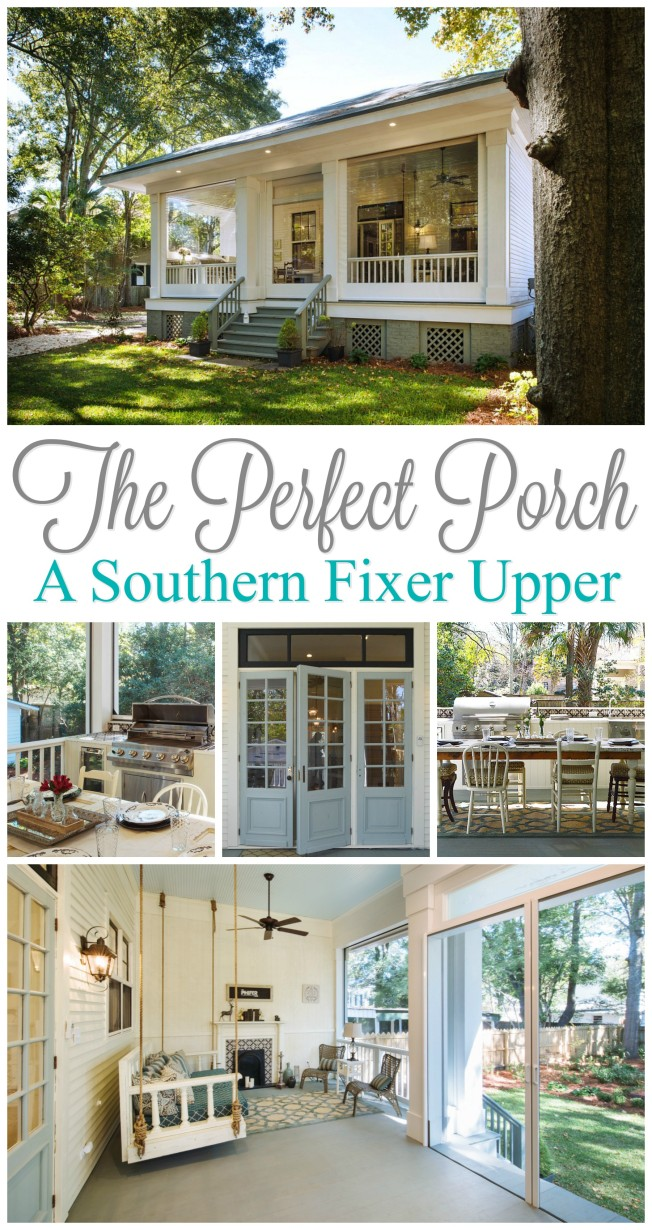 Year round outdoor entertaining with the perfect porch! A Southern fixer upper story. Built in BBQ and outdoor kitchen, daybed swing, ceiling fans...