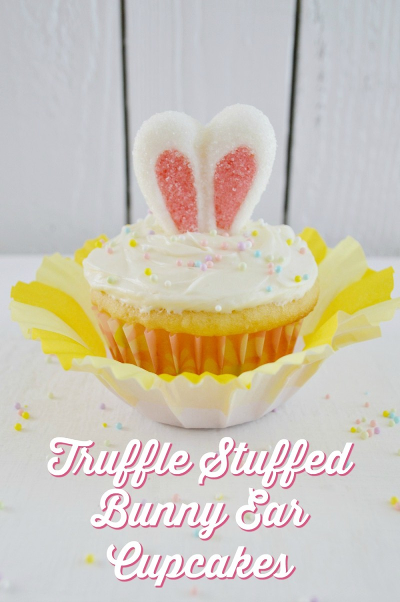 truffle stuffed bunny rabbit ear cupcakes - foxhollowcottage.com - easter spring dessert