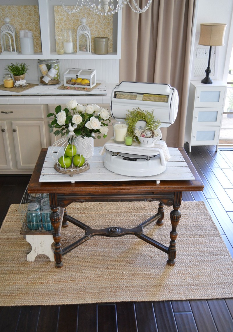 1920's cottage home, Spring kitchen. Vintage butterfly table and old white enamel scale. foxhollowcottage.com Fox Hollow Cottage blog