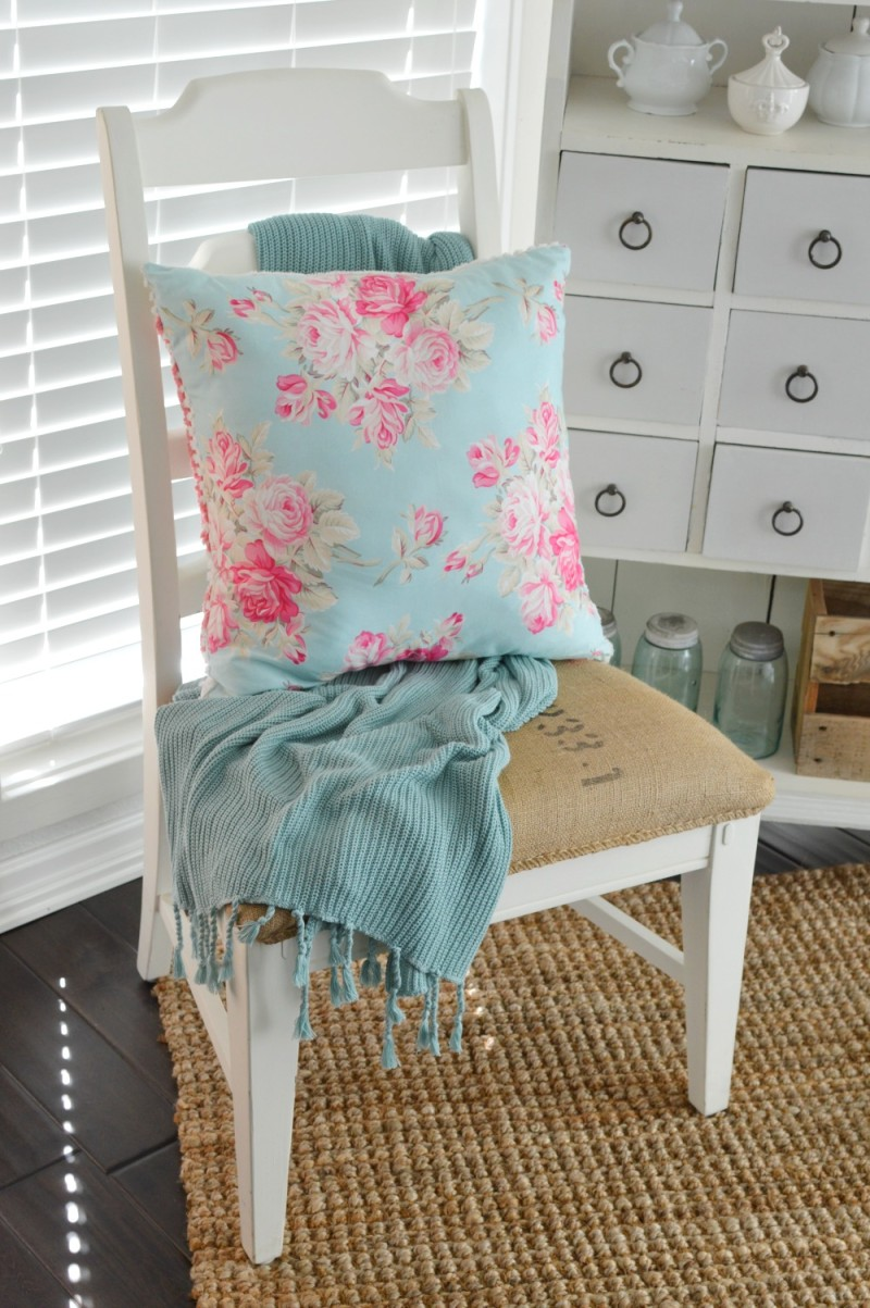 Aqua Pink Floral Pillow, Cable Knit Throw. Cottage Sun Room. foxhollowcottage.com Spring 2016