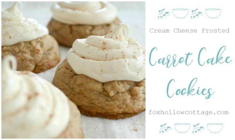 Carrot Cake Cookies with Cream Cheese Frosting foxhollowcottage.com Easy Cheater Dessert Recipe