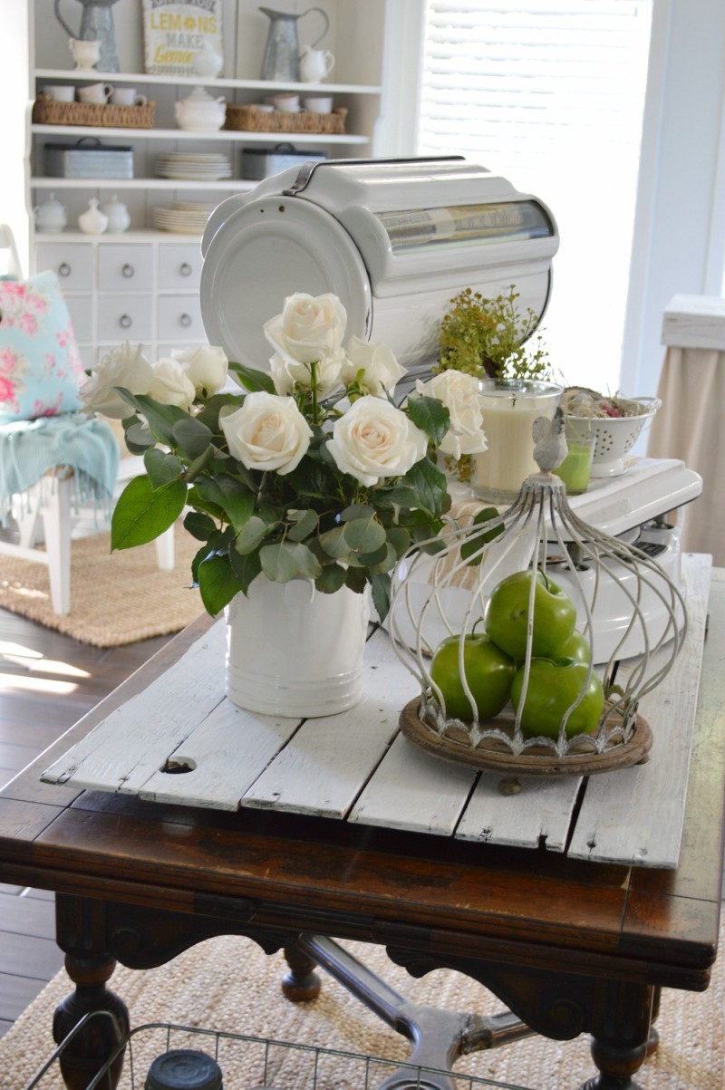 Cozy Cottage with Vintage Thrifted Decor at foxhollowcottage.com - Spring Kitchen