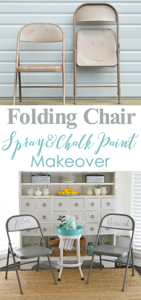 Folding Chair Makeover At Foxhollowcottage Com Before And After Tutorial Supply List