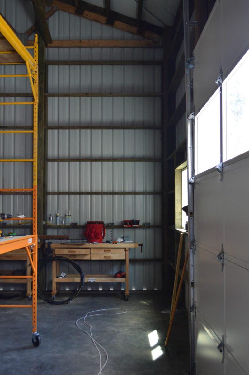 Fox Hollow Cottage Workshop - Metal Pole Building Interior