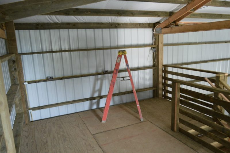 Fox Hollow Cottage Workshop - Metal Pole Building - The Loft, Storage Space, Looking Back At The Stairs