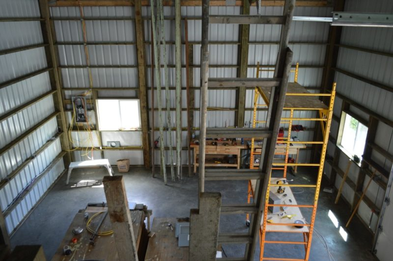 Fox Hollow Cottage Workshop - Metal Pole Building - View of main floor shop space from loft