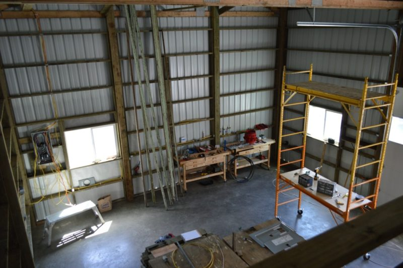Fox Hollow Cottage Workshop - Metal Pole Building - View of shop space from loft.