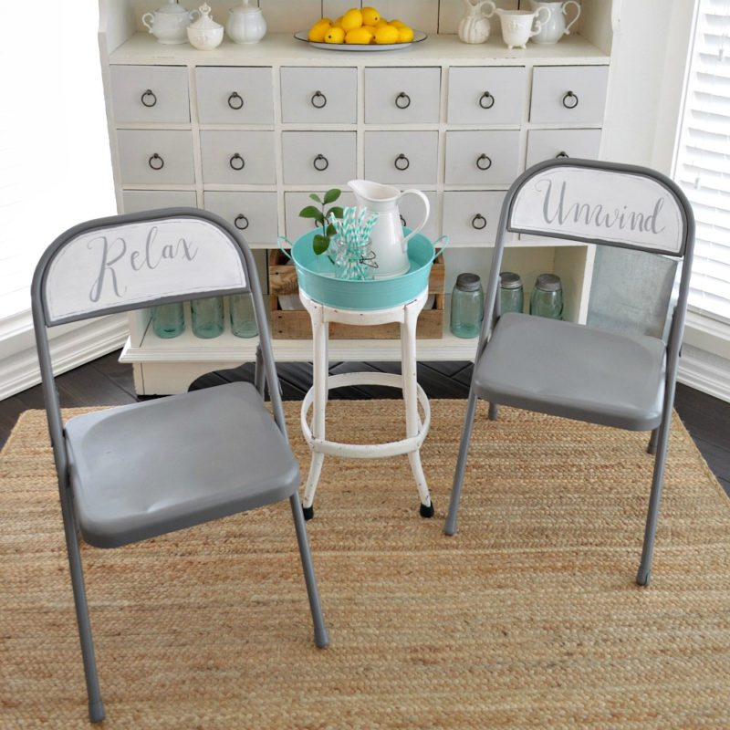 Bon Relax + Unwind Folding Chair Makeover   Small Home Extra Seating Before And  After Project