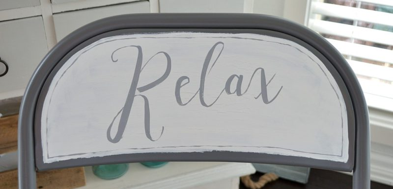 Relax hand lettered chalk paint folding chair makeover