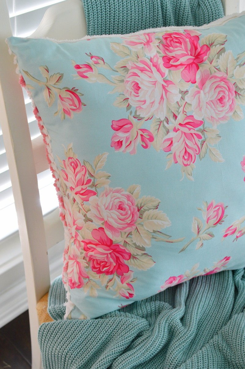 Shabby Floral Pillow, Chenille Aqua and Pink. Cable Knit Throw - foxhollowcottage.com Spring 2016