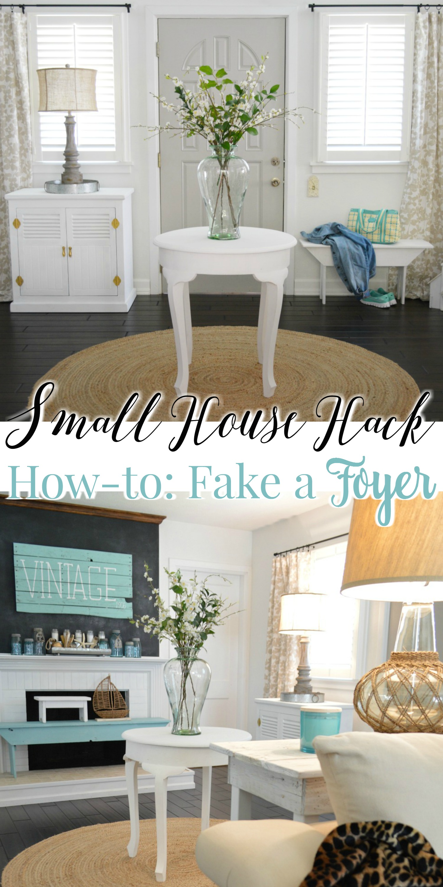Spring Cottage Home Tour. Faux Foyer, little house hack. Small house entryway.