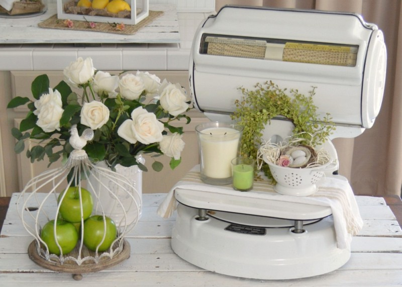 Spring Cottage Kitchen foxhollowcottage.com Vintage Enamel Scale, Wire Cloche.
