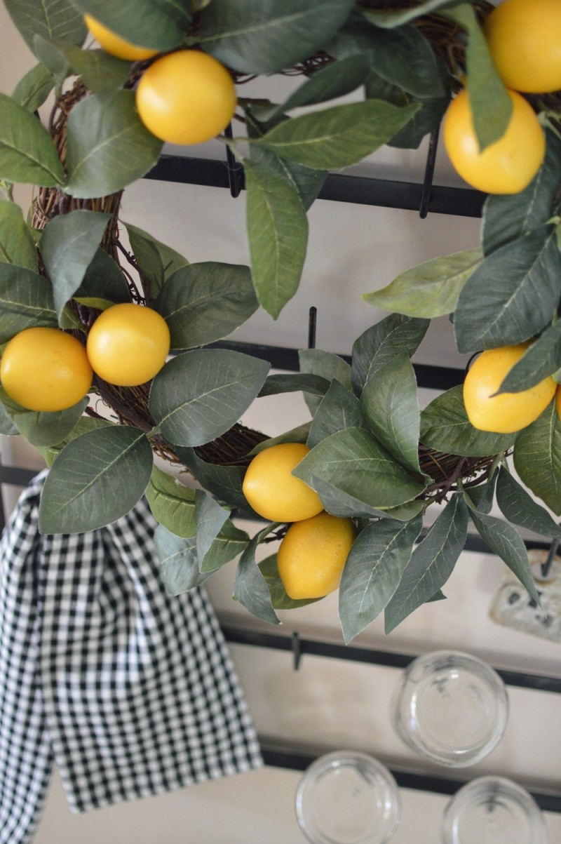 Target Lemon Wreath - foxhollowcottage.com - Vintage style bottle drying rack.