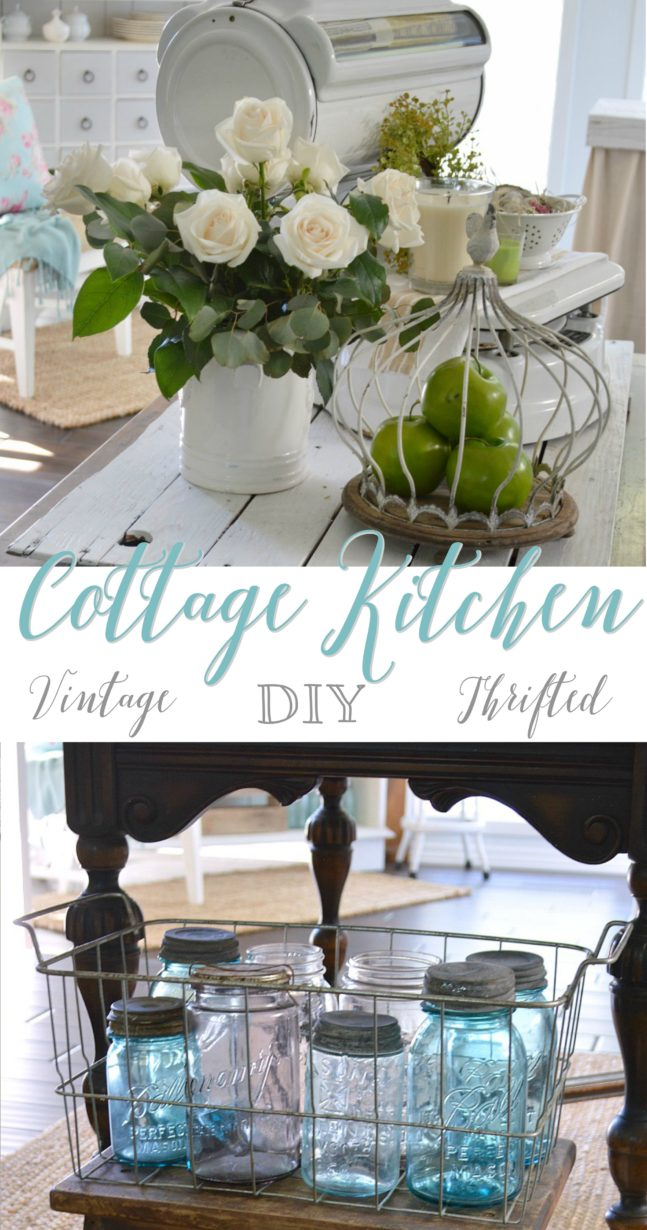 Vintage Cottage Kitchen Tour - full of thrifted and DIY projects - Spring at foxhollowcottage