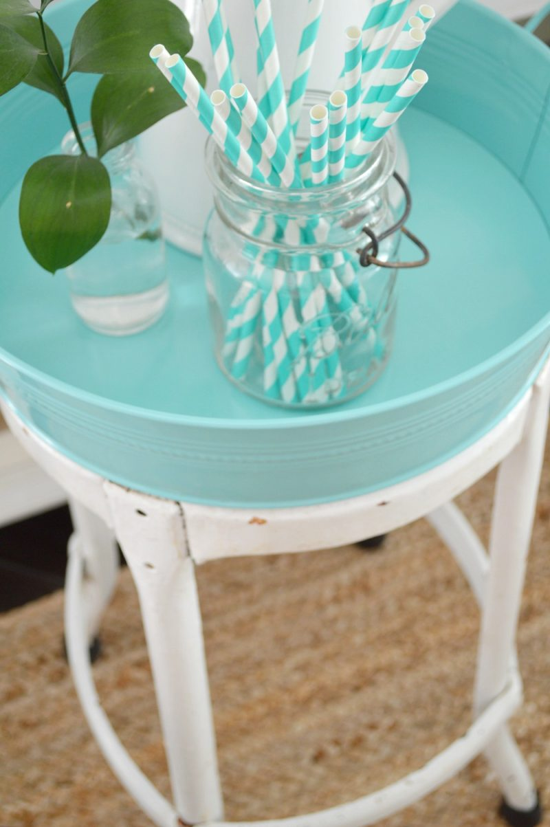 Vintage Metal Stool - Plus Aqua Meatal Tray - Ball Jar Paper Straws - Serving Side Table
