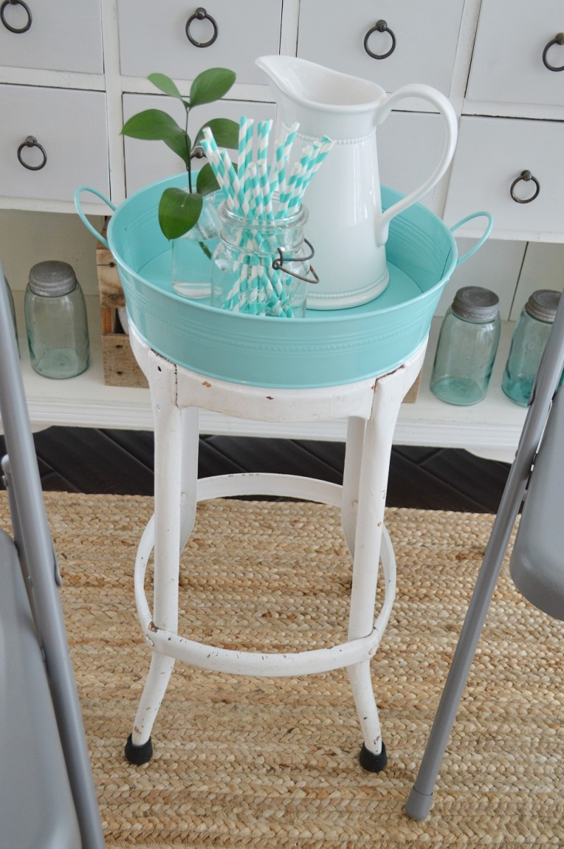 Vintage Metal Stool - Plus Aqua Meatal Tray - Serving Side Table