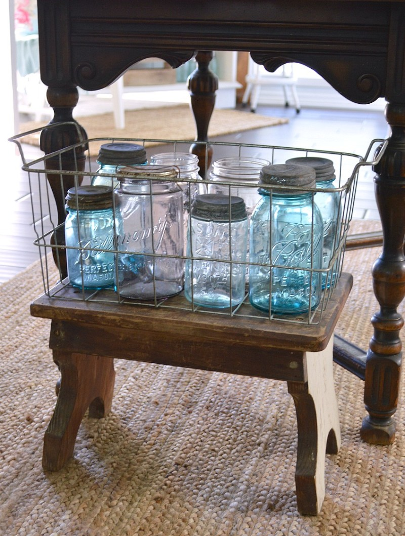 Vintage ball jar collection, old wire basket and step-stool - foxhollocottage.com - 1920's Cottage Kitchen