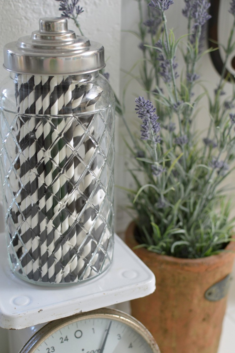 Vintage scale, paper straws, Lavender - foxhollowcottage.com - Spring Cottage Kitchen