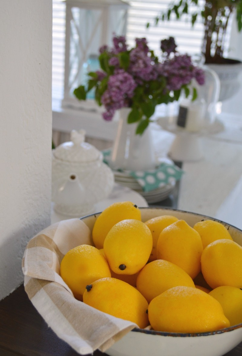 Vitnage enamel ware bowl with Lemons, Lilacs, Lantern - foxhollowcottage.com Spring cottage kitchen