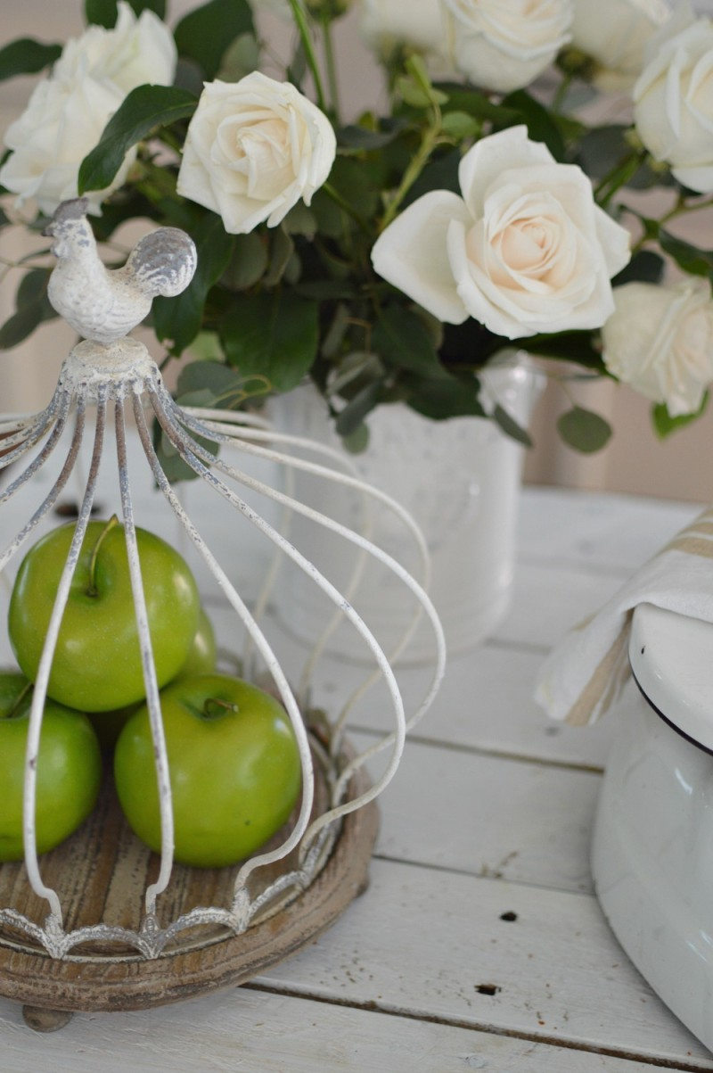 Wood and Wire Rooster Cloche, White Roses. Cottage Kitchen at foxhollowcottage