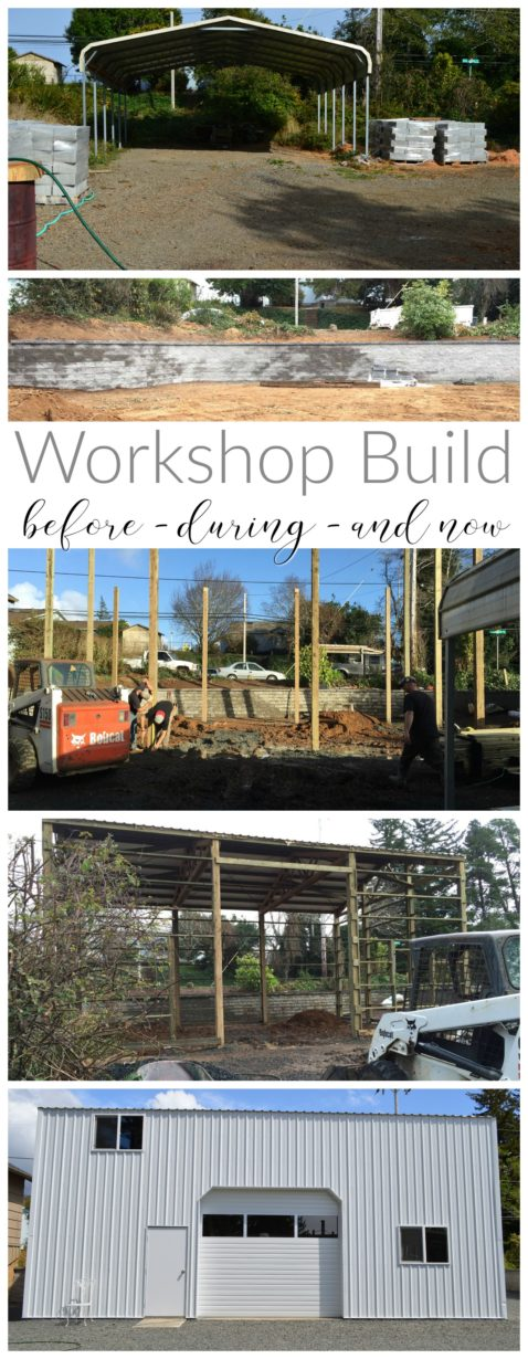 Workshop Build - Metal Pole Barn Outbuilding - Site Prep - Retaining Wall - Construction - After, Fox Hollow Cottage