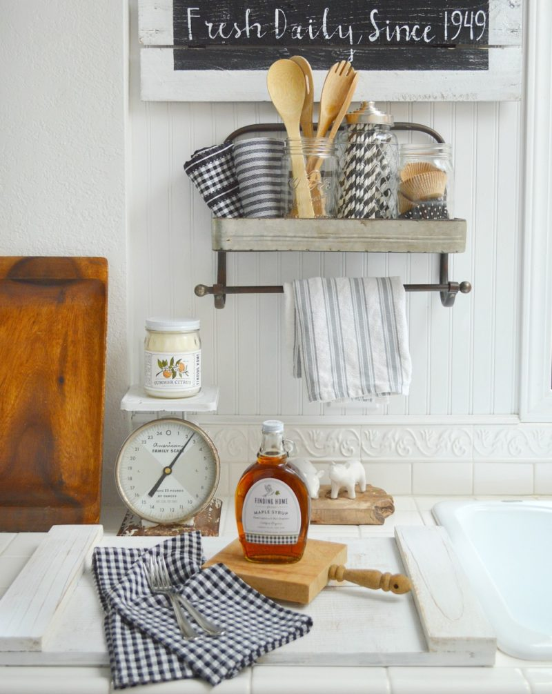 Black and White Cottage Farmhouse Kitchen Decor, Galvanized Metal Shelf Rack -foxhollowcottage.com