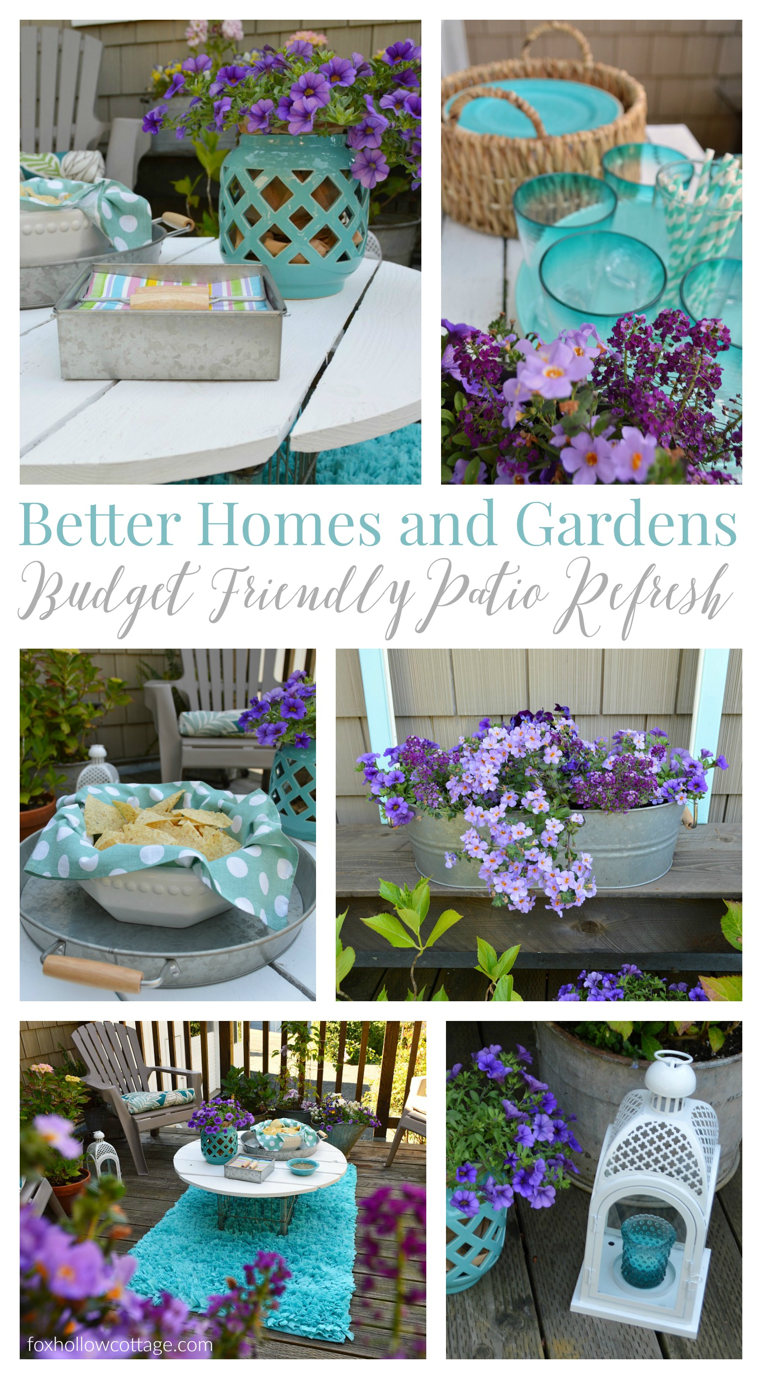 Better Homes and Gardens Live Better Deck Decorating Ideas - foxhollowcottage.com - Pretty purple flower patio refresh with aqua accents, all on a Walmart budget