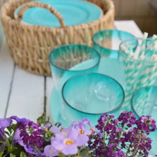 Better Homes and Gardens Live Better Deck Decorating Ideas - foxhollowcottage.com - Pretty purple flower patio refresh with aqua accents and DIY projects