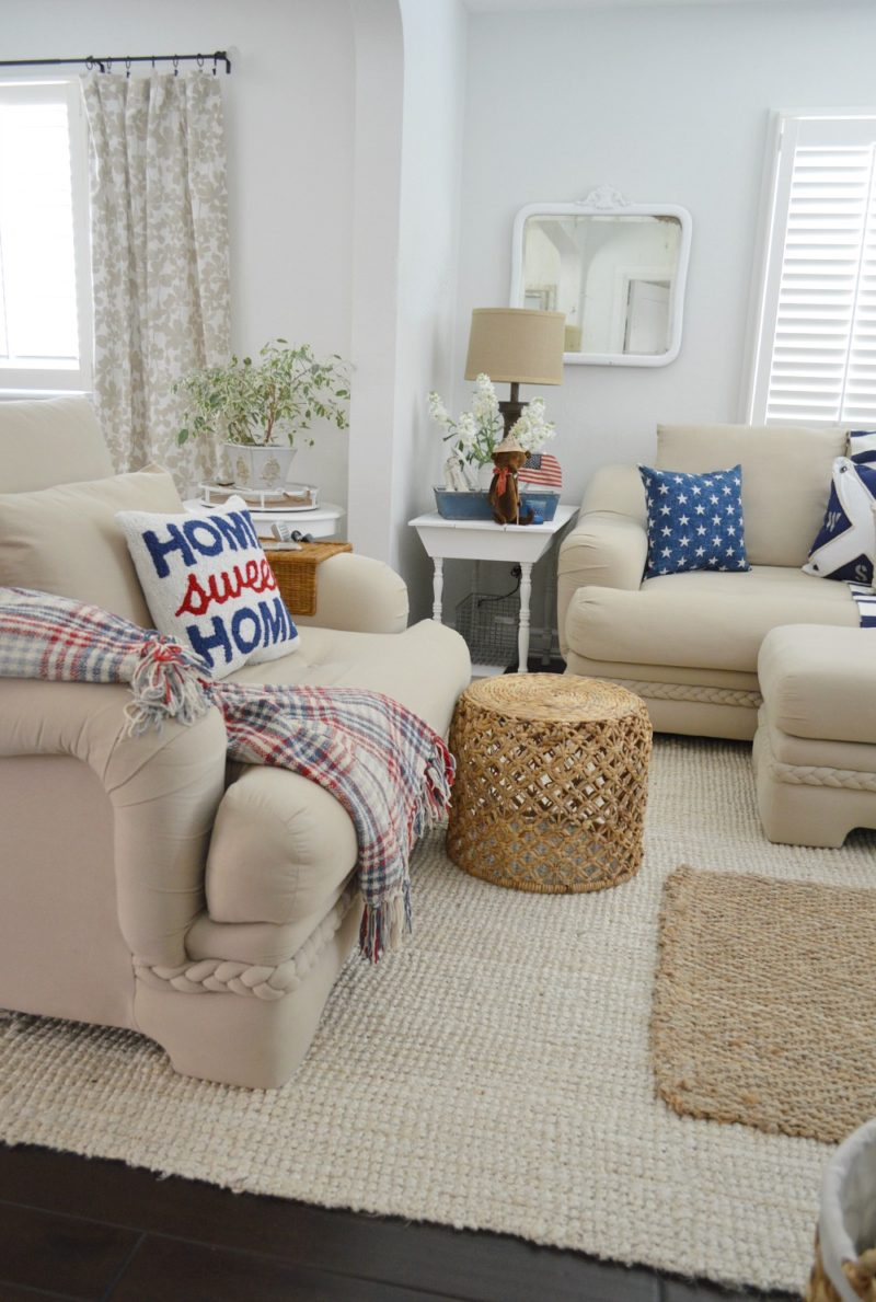 Coastal Summer Living Room, Neutral Nautical - foxhollowcottage.com - Fox Hollow Cottage