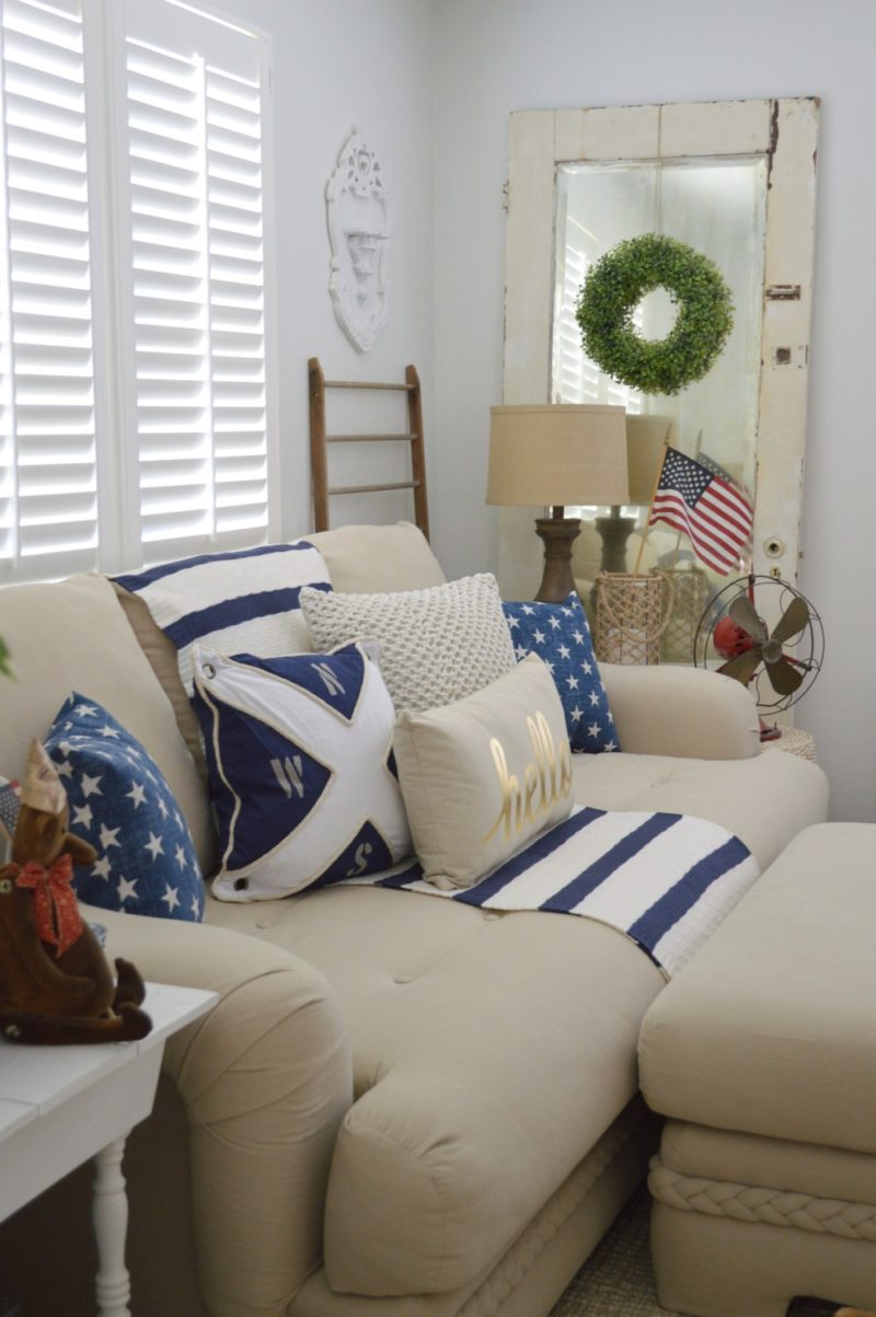 Cottage Living Room, foxhollowcottage.com - casual home decor with a patriotic, nautical touch.
