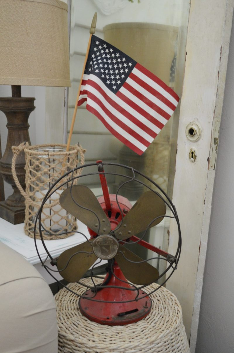 Fox Hollow Cottage Summer Living Room - Red Vintage Fan and American Flag