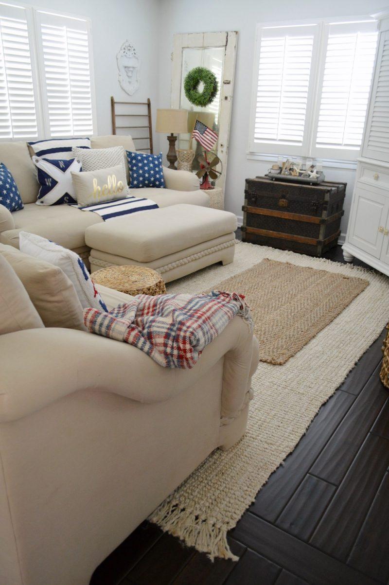 Patriotic Coastal Cottage Living Room