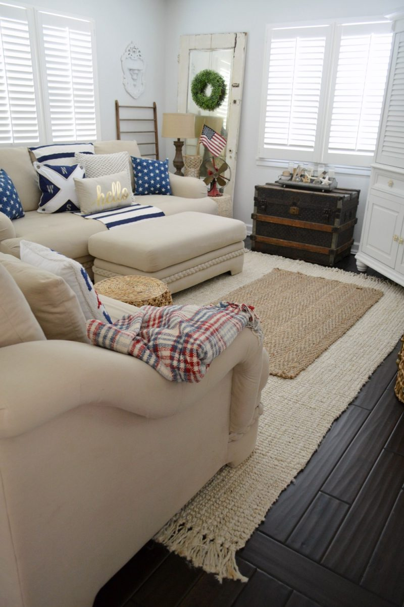 Nautical Neutral, Patriotic Cottage Living Room