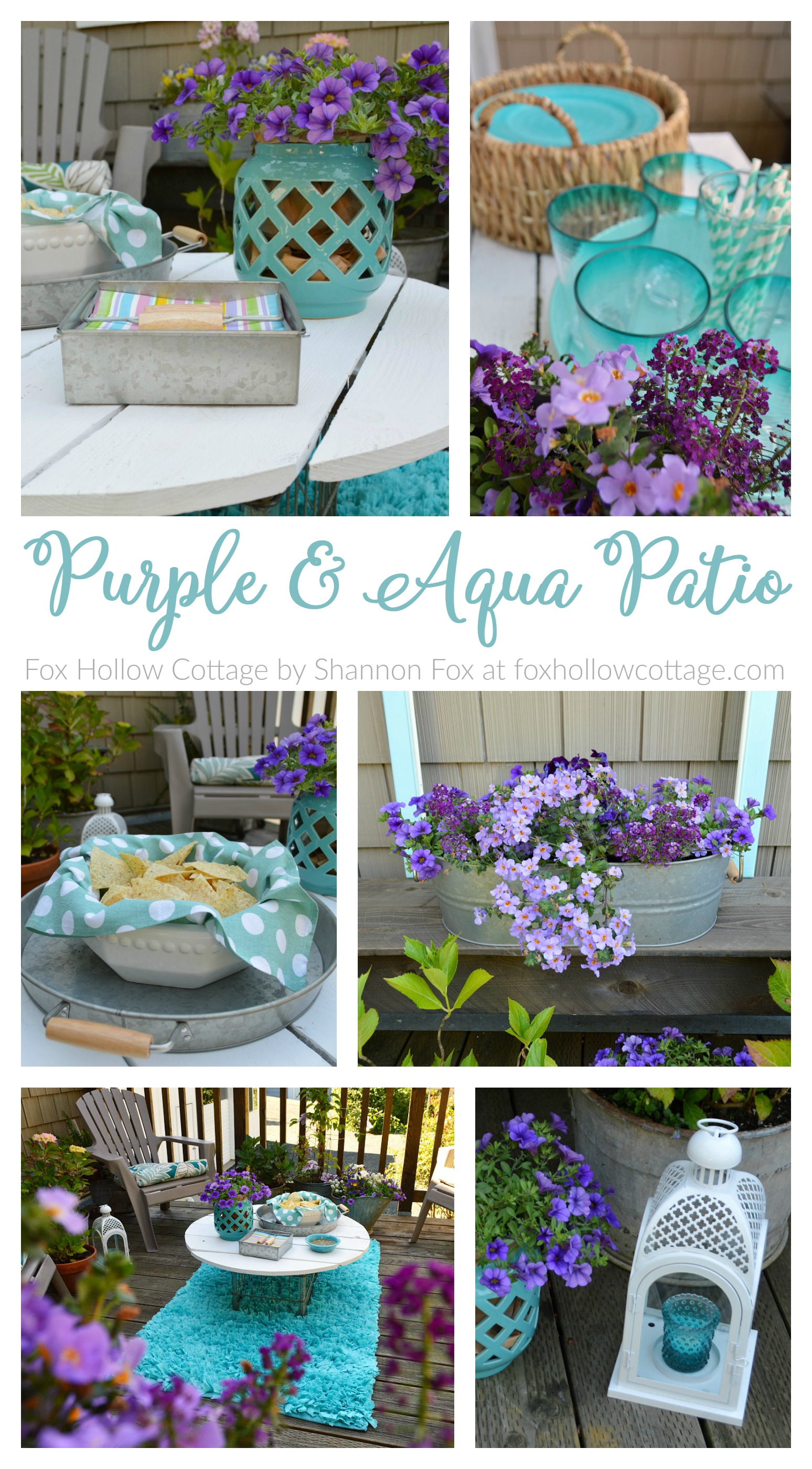 Purple and Aqua Patio Deck Refresh at foxhollowcottage.com - With budget friendly Better Homes and Gardens goods, from Walmart