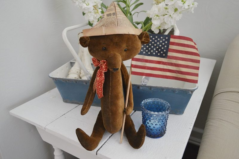 Vintage Americana Teddy Bear, Paper Hat & US Flag