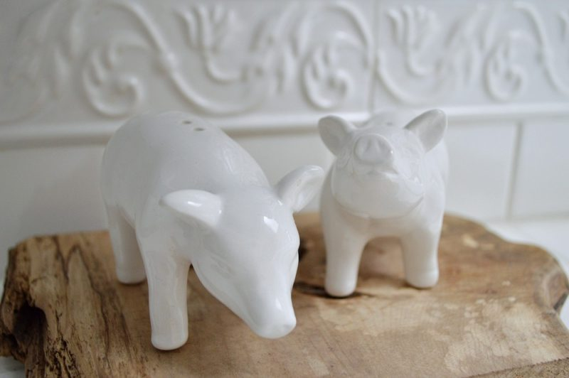 White Pig Kitchen Salt & Pepper Shakers on Wood Slab