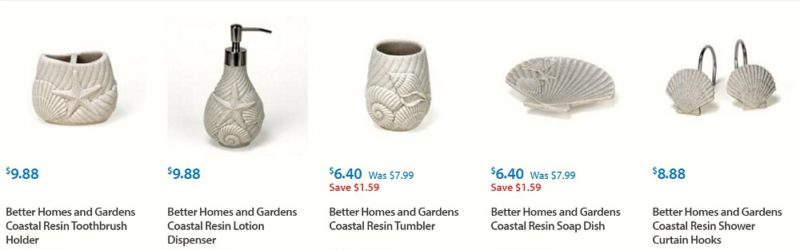 Coastal Style Beach Decor, from Walmart - Better Homes and Gardens seashell collection bathroom accents - Fox Hollow Cottage blog shares affordable shopping ideas at foxhollowcottage.com
