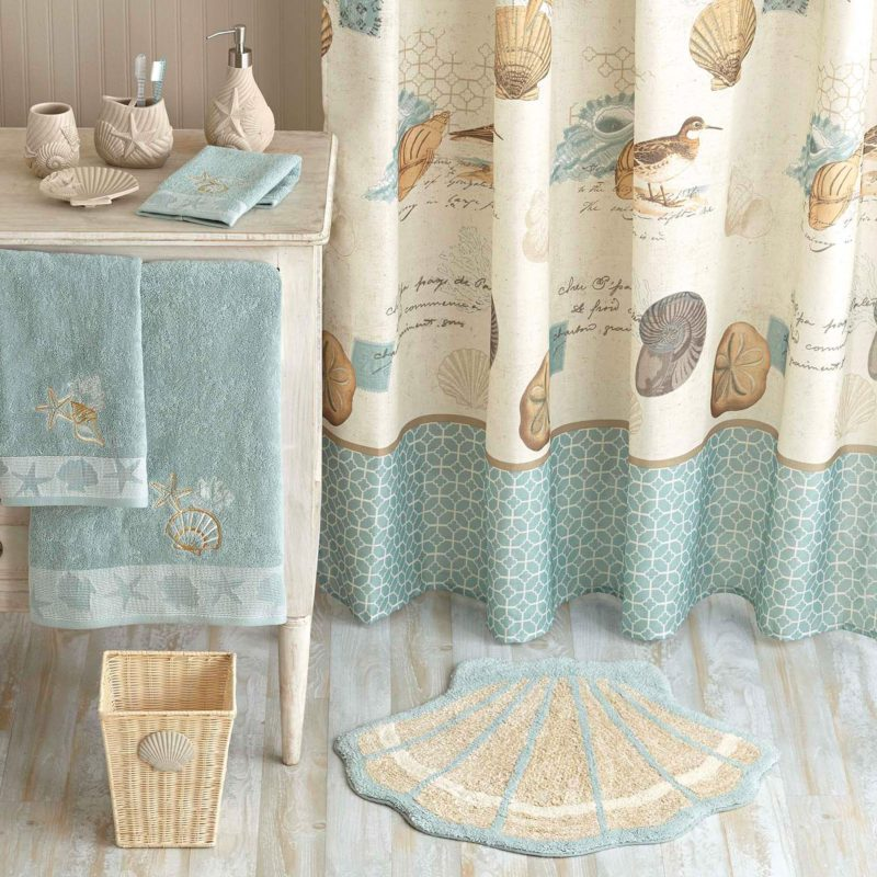 Coastal style beach decor from walmart fox hollow cottage for Beach themed bathroom sets