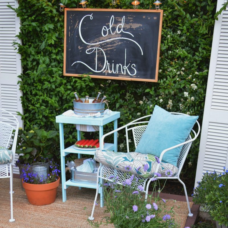 """Cold Drinks"" Vintage chalkboard sign. How To Build A Beverage Station. Make a Wood Table with for Entertaining with foxhollowcottage.com and The Home Depot - DIHworkshop sponsored"