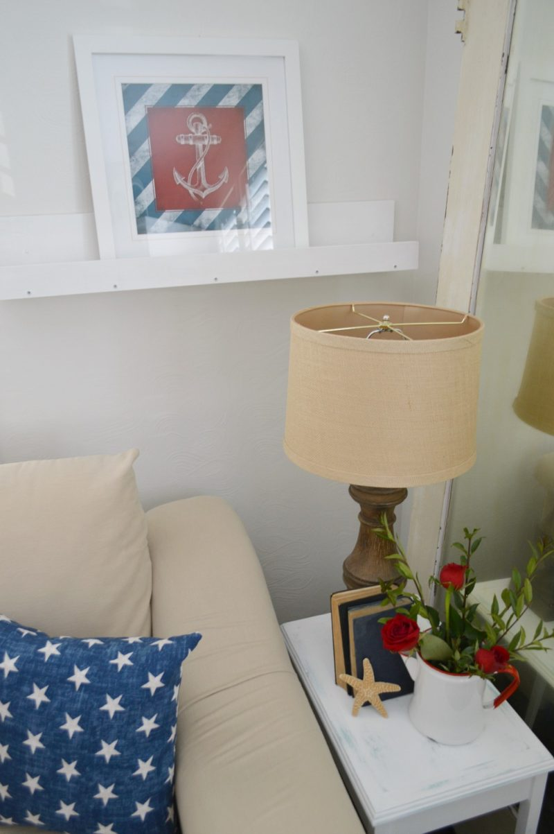 DIY Picture Ledge Shelf. Anchor Art, Chunky Wood Lamp & Roses