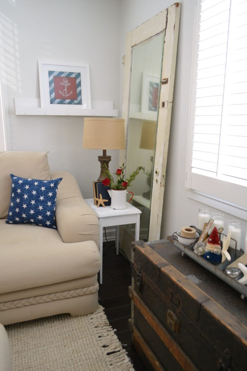 DIY Picture Ledge Shelf. Coastal Cottage Decorated with Nautical Accents and Vintage Finds.