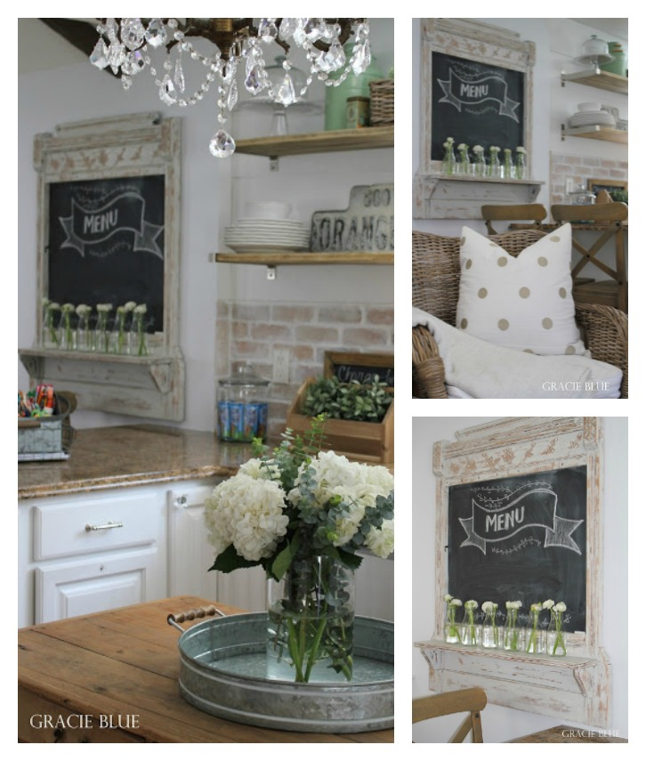 Antique wood DIY chalkboard makeover from vintage mirror by Gracie Blue