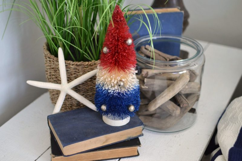 Red white and blue vintage bottle brush tree - coastal summer home at foxhollowcottage.com 2016
