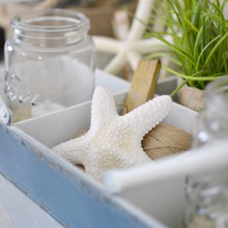 Rustic tin tray with starfish - summertime home decorating - fi foxhollowcottage