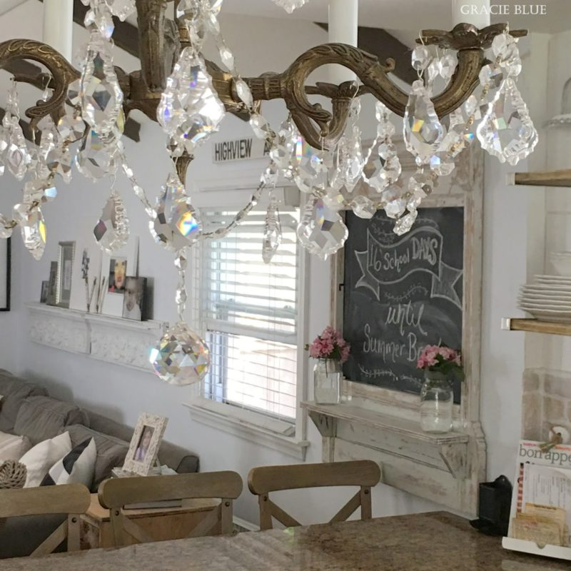 Vintage Antique Chandelier, Gracie Blue. Farmhouse Home Tour at foxhollowcottage.com
