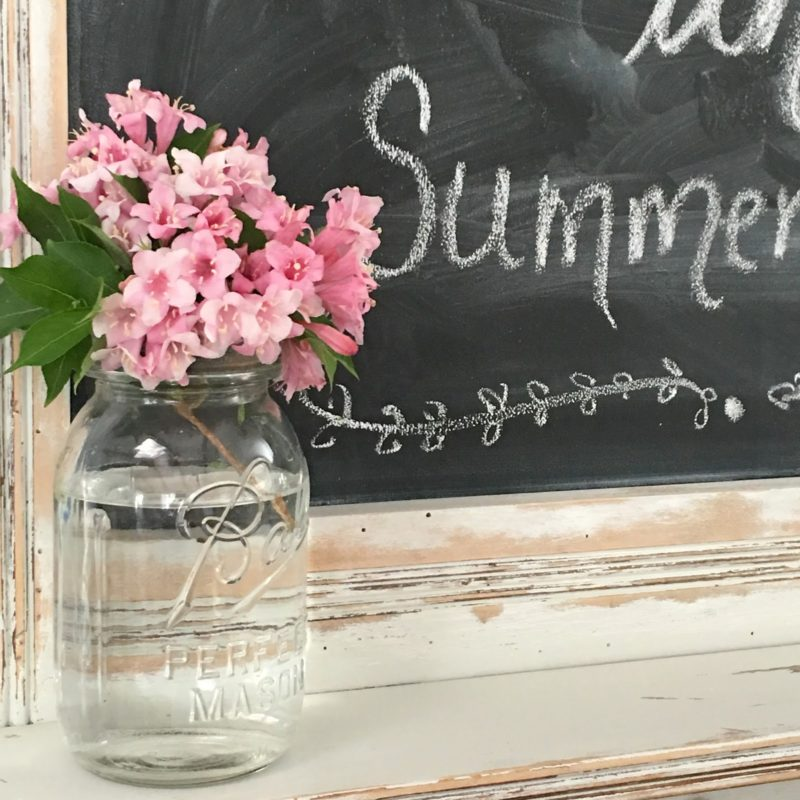Ball mason jar with pink Hydrangea on Summer chalkboard - by Gracie Blue