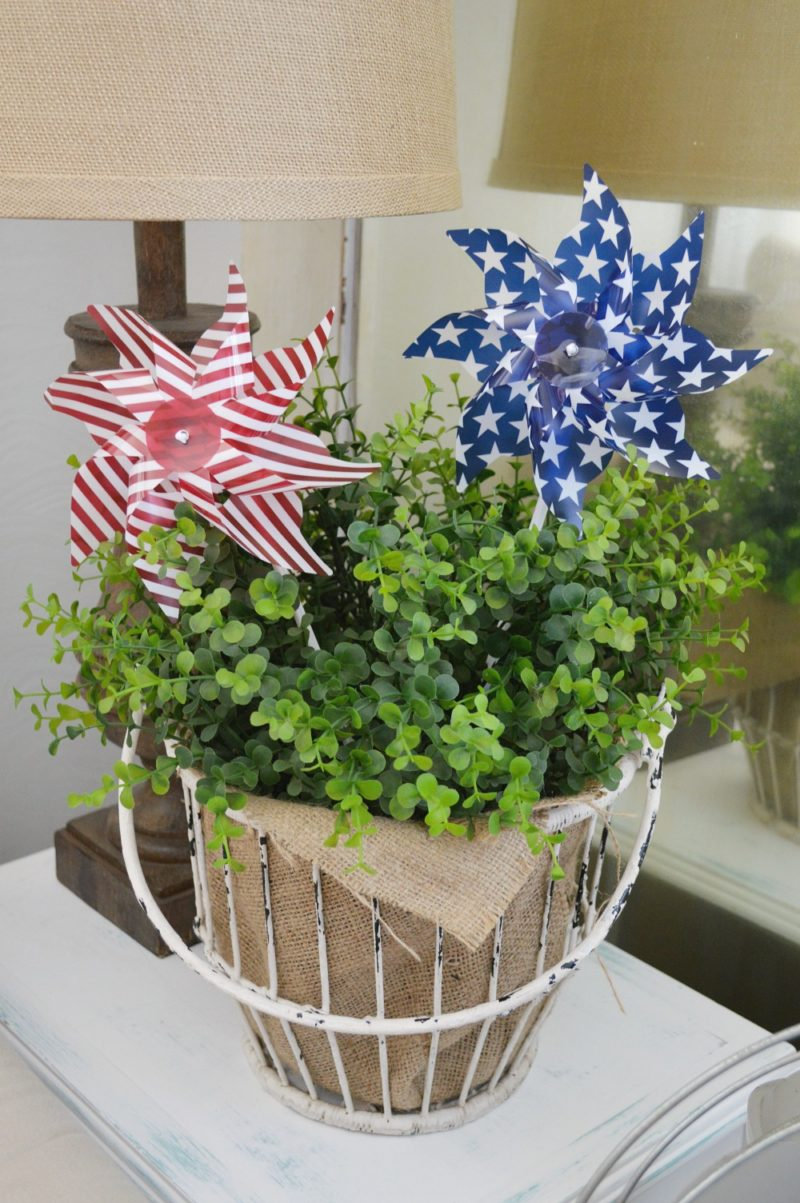 Patriotic summer cottage living room Stars and stripes home decor